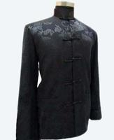 Black Traditional Chinese Men's Kungfu Jacket Coat shirt with Dragon M XL XXXL Wholesale Retail M1145