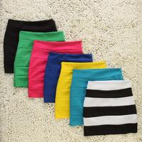 Summer Women's Slim Candy Color Multicolour Slim Hip Skirt Short Skirt A-line Skirt Half-length Miniskirt