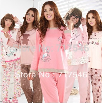 free shipping  sleepwear lounge women's sweet bear long-sleeve pajamas cotton sleep Women lounge set