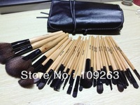 professional 32PCS makeup brushes! Quality well ,manufactory  Hot sell Black Leather Case Free Shipping