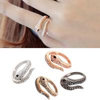 Bea Accessories Fashion Full Rhinestone Snake Ring Adjustable Ring