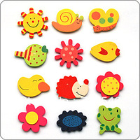 free shipping 120pcs/lot Wooden cartoon refrigerator stickers decoration stickers wooden Fridge Magnets