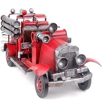 Free shipping!Handmade metal chalybeate red vintage fire truck model home office decoration mtel art crafts car model