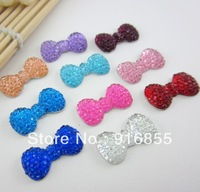 Free shipping new fashion 100pcs/lot  23*12.5mm bow shape flatback resin rhinestone for DIY decoration(many colors to choose)