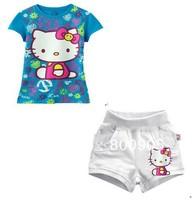 2013 children's  summer clothing kids t shirt top +  short pants girls cartoon colorful hello kitty  2 pces set