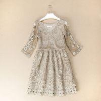 Fashion women's luxury quality 2013 full cutout handmade crochet one-piece dress princess dress
