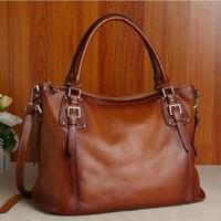 2014 new  women's female real genuine leather handbag  fashion vintage handbag cross-body female big bags free shipping