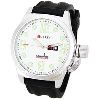 Curren 8127A Men's Watch 4 Numbers and Half Circles Hour Marks with Round Dial Silicon Watchband - Black