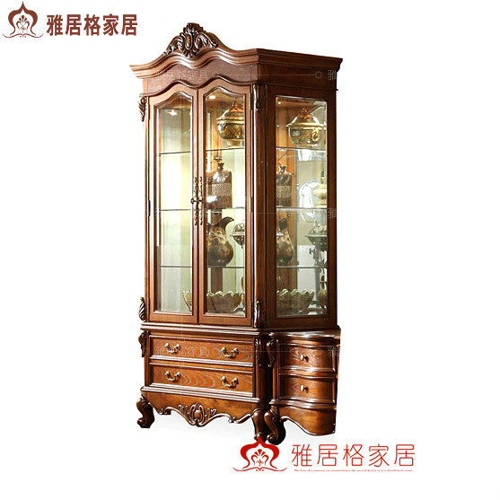 American style glass two-door yaju wine cooler fashion wood decoration cabinet display cabinet f9114 bag(China (Mainland))