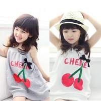 Free shipping   cherry summer spaghetti strap two ways skirt