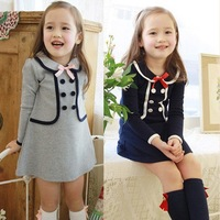 Free shipping  13 spring and autumn female child long-sleeve dress  faux two piece one-piece dress