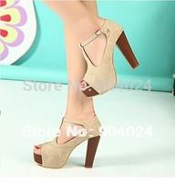 2014 New Toe Sapatos Femininos Zapatos Mujer Wholesale Hot Selling Female Shoes Women Sandals Peep-toe Thick Heel High-heeled