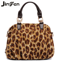 Spring fashion leopard print knitted bags casual fashion handbag messenger bag