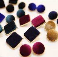 Promotion! Wholesale!  2013 Fashion lady women jewelry all-match Square or Round velvet stud earrings  ER071