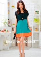 Free shipping , Plus size Summer elegant cape, false two patchwork women dress
