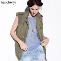 Military fashion Army Green small lapel tooling medium-long sleeveless vest outerwear 6 full Free Shipping