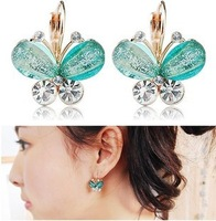 Min. order is $15 (mix order) Fashion hot-selling cute gold plated resin butterfly clip earrings