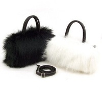 Free shipping 2013 women lady faux fur bag mini handbags shoulder day Clutches messenger evening female designer black white bag