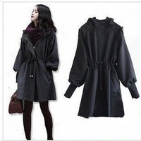 Free shipping women wool coat 2013 trench coat outerwear overcoat outdoor poncho windbreaker plus size winter jacket hooded cape