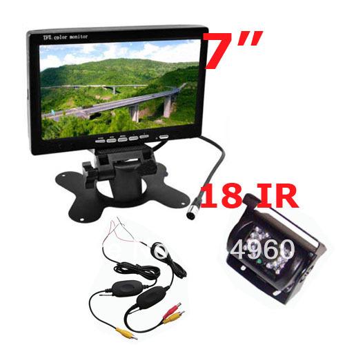 "7"" LCD Monitor Car Rear View Kit + Wireless 18 IR LED IR Reversing Camera Free Shipping(China (Mainland))"