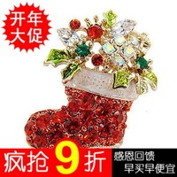 Hot sale Boots brooch colorful Rhinestone christmas brooch Christmas gift new year gift  free shipping