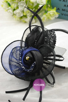 Fabric crystal high quality handmade flower corsage feather brooch