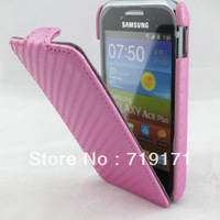 1pcs/lot free ship New Carbon style Leather Case for Samsung GT-S7500 Galaxy Ace Plus  +1pcs film
