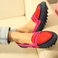 P&B Best quality Fashion preppy style comfortable color block decoration genuine leather boat     2  casual
