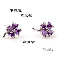 Gift four leaf clover rhinestone stud earring female 925 pure silver stud earring accessories birthday gift