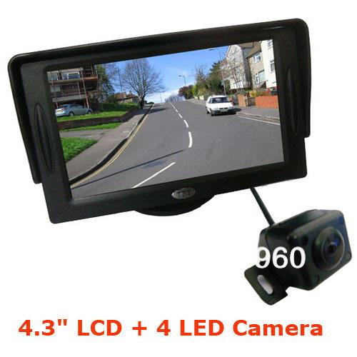 "Free Shipping 4.3"" Car LCD Monitor +4 IR Reversing Wide Angel Camera 170 Car Rear View Kit waterproof 5pcs/lot(China (Mainland))"