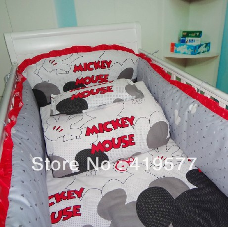 Customize mickey mouse crib bedding 100% cotton / Eight set series(China (Mainland))