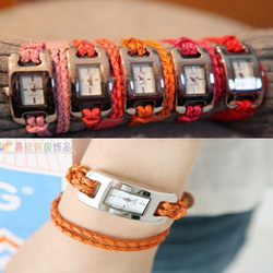 Min.order is $10 (mix order) Free Shipping Hand-knitted leather cord watchband quartz watches,Multicolor braided watch(China (Mainland))