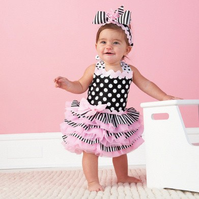 children party dress Baby cake dress pink color girl's wear high quality flower dot dress(China (Mainland))