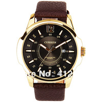 Curren Quartz mens wristwatches  with 1 Number and Strips Indicate with Round Dial Leather luxury watches for men