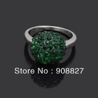 Min.order is $15 (mix order),Hot Sale Fashion 10mm Dark Green CZ Crystal Shamballa Silver Plated Alloy Finger Ring,Nickle Free