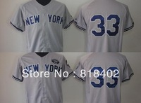 Free shipping-New York #33 Travis Hafner Grey jersey,baseball team jerseys