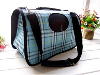Pet Luggage Carrier Dog Bag Cat Bag Handbag Travel Bag Blue Plaid Grid with Belt Roller Shutter Size M