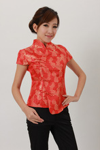 Fashion Red Chinese Women's Polyester Satin Shirt Flower S M L XL XXL XXXL J2053(China (Mainland))