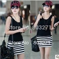 2013 spring and summer women's slim hip stripe basic vest, woman Dress underwaist female women, sleeveless sweater
