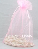 "Free CN Shipping Wholesale 100PCS LARGE  20*30cm PINK PLAIN ORGANZA Jewelry Gift Bags 8*12"" Wedding Favours VOILE Pouch"