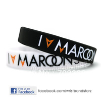 I Love MAROON 5 Wristband, silicon bracelet, filled in colour, 3colours, 100pcs/lot, free shipping