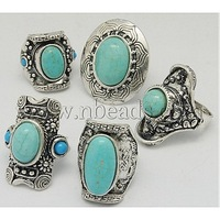 Zinc Alloy Finger Ring,  with Turquiose Beads,  Antique Silver,  Mixed Style,  Mixed Color,  about 13~31mm wide,  24~37mm long
