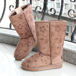 Winter warm boots knee-high 5825 print snow boots thickening medium-leg slip-resistant women's boots(China (Mainland))