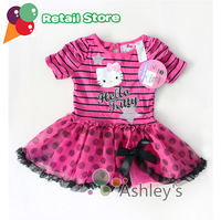 Hot Sale Hello Kitty Stripe Kids Dress Shortsleeve O-neck Dress Chiffon Gauze Tiered Dress Free Shipping