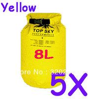 5pcs 8L  Waterproof Dry Bag Kayak Canoe Floating Camp Yellow