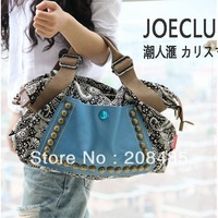 2013 korean style fashion women retro canvas bag female big bag handbags women rivet package diagonal package women shoulder bag