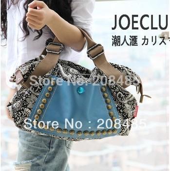 2014 korean style fashion women retro canvas bag female big bag handbags women rivet package diagonal package women shoulder bag