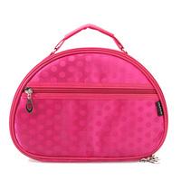 Big fog flower dot silk glossy professional cosmetic bag half moon shape cosmetic bag travel storage bag