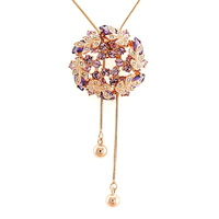 ITALINA garishness zircon necklace crystal luxury quality sweater necklace long design women jewelry accessories