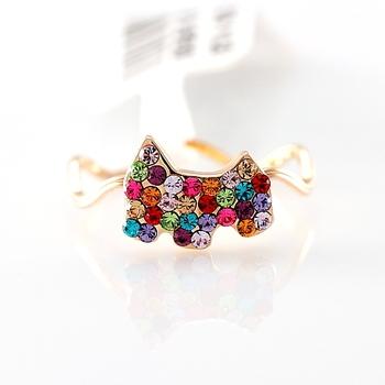 ITALINA dog 18k rose gold ring austria crystal finger ring female